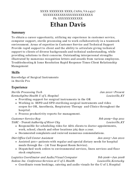 Sterile Processing Tech resume format Virginia