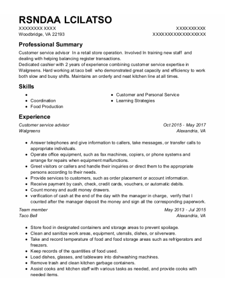 Customer Service Advisor resume format Virginia
