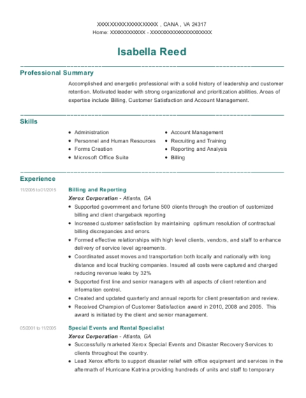 Billing and Reporting resume example Virginia