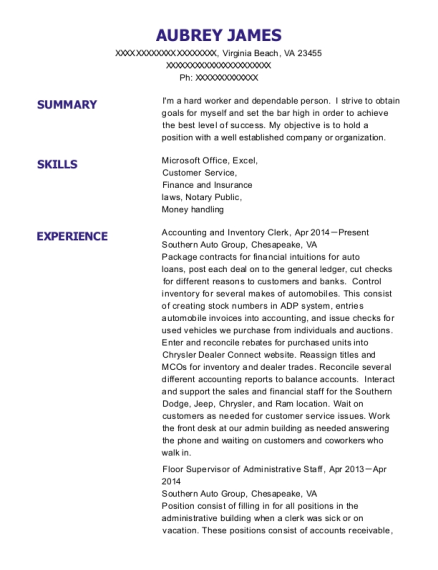 Accounting and Inventory Clerk resume template Virginia