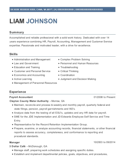 Payroll Accountant resume format Virginia