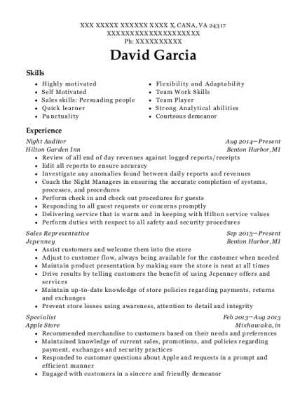 Night Auditor resume example Virginia