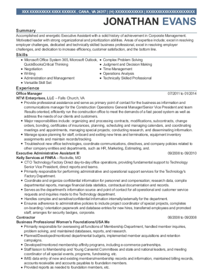 Office Manager resume sample Virginia