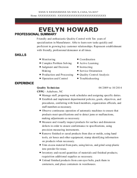 Quality Technician resume example Virginia