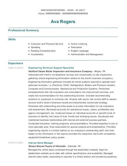 Engineering Technical Support Specialist resume format Virginia