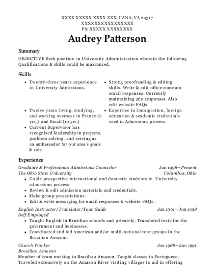 Graduate & Professional Admissions Counselor resume format Virginia