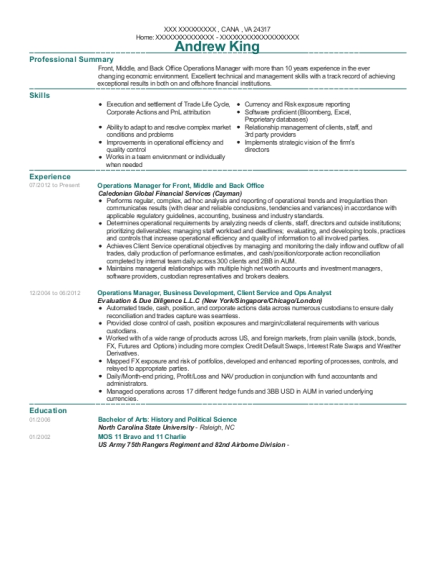 Operations Manager for Front resume template Virginia