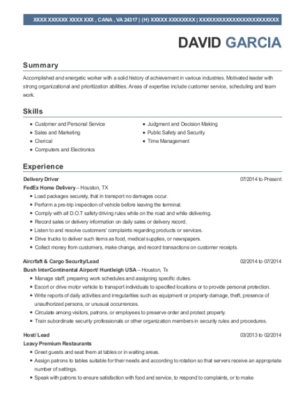 Delivery Driver resume format Virginia