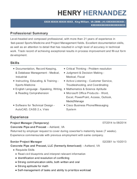 Project Manager resume sample Virginia