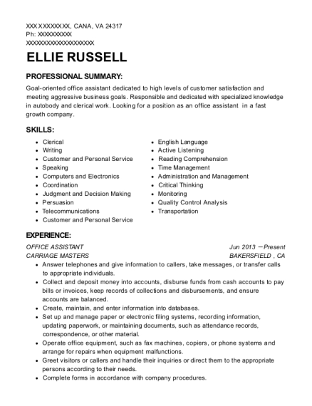 Office Assistant resume format Virginia