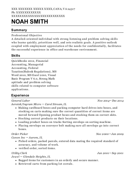 General Labor resume format Virginia