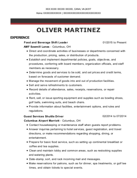 Food and Beverage Shift Leader resume template Virginia