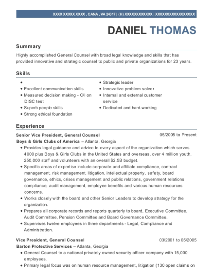 Senior Vice President resume format Virginia
