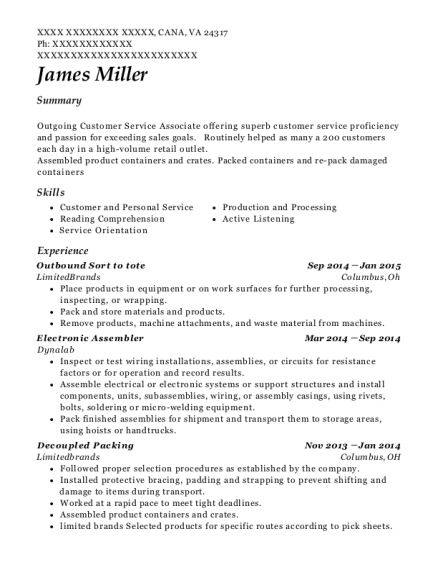Outbound Sort to tote resume example Virginia