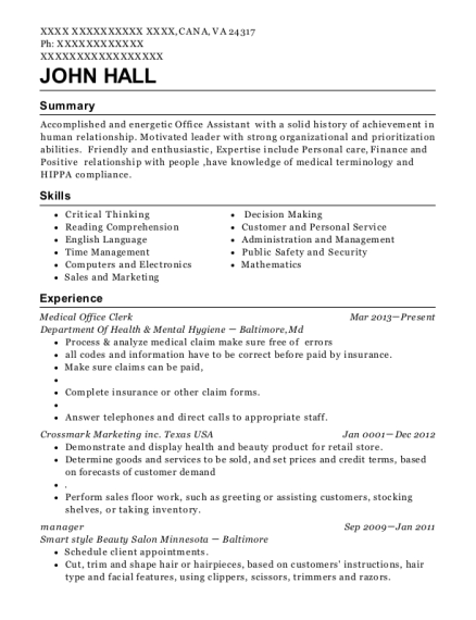 Medical Office Clerk resume format Virginia