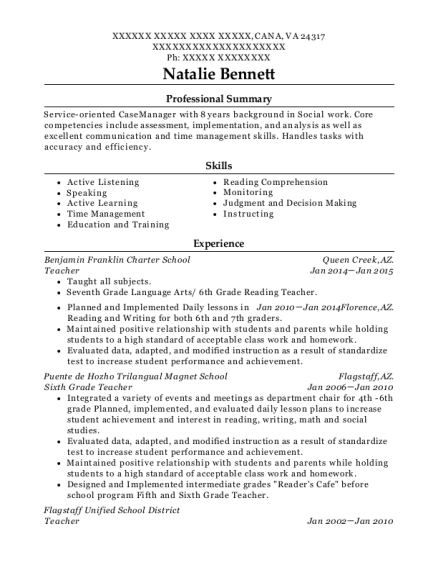 Teacher resume template Virginia
