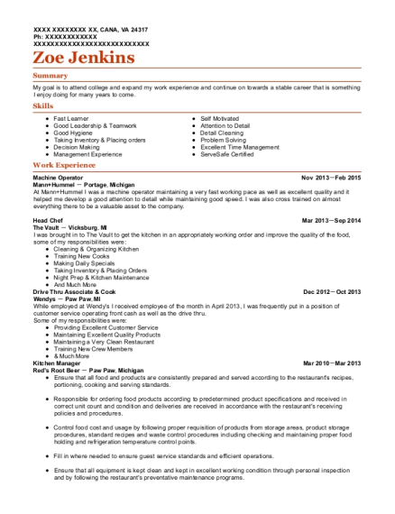 Machine Operator resume sample Virginia