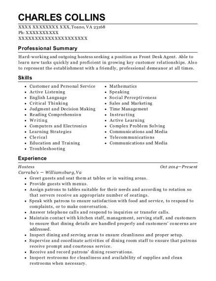 Hostess resume example Virginia