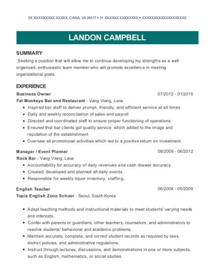Business Owner resume example Virginia