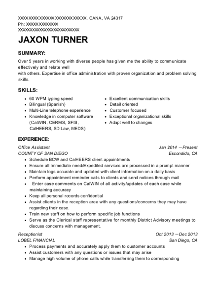 Office Assistant resume example Virginia