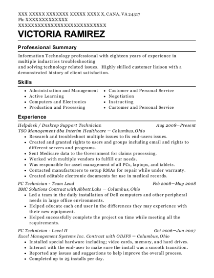 Helpdesk resume format Virginia