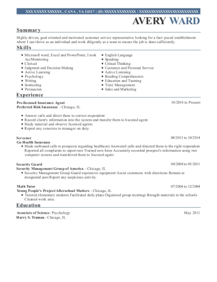 Pre licensed Insurance Agent resume format Virginia