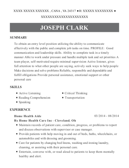 Home Health Aide resume example Virginia