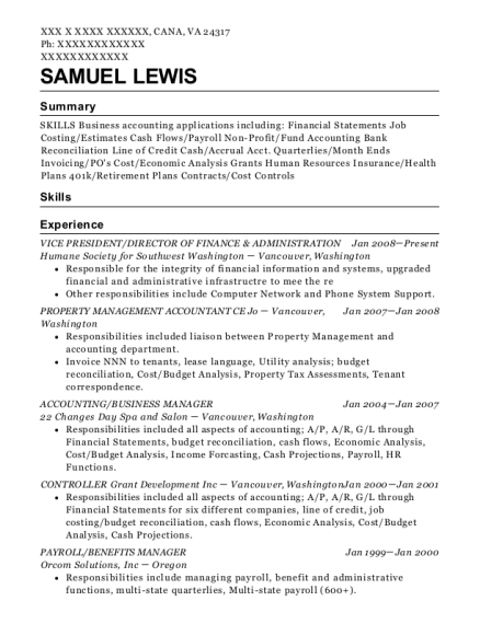 VICE PRESIDENT resume sample Virginia