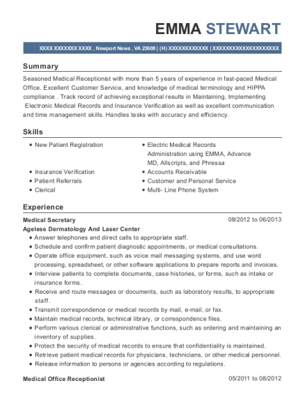 Medical Secretary resume template Virginia