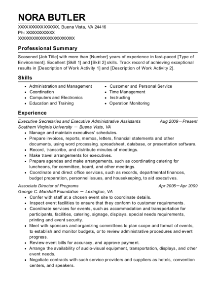 Executive Secretaries and Executive Administrative Assistants resume format Virginia