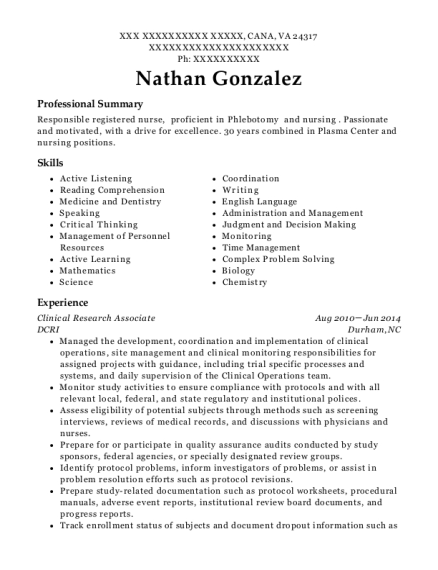 Clinical Research Associate resume format Virginia
