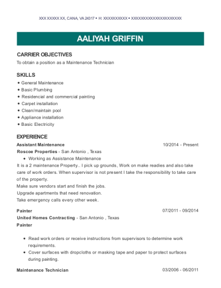 Assistant Maintenance resume example Virginia