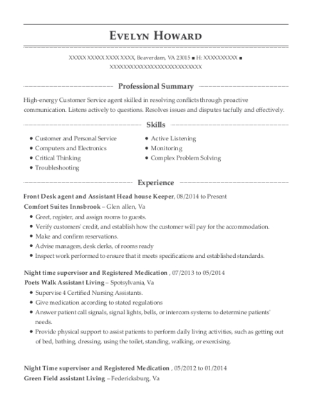 Front Desk agent and Assistant Head house Keeper resume example Virginia
