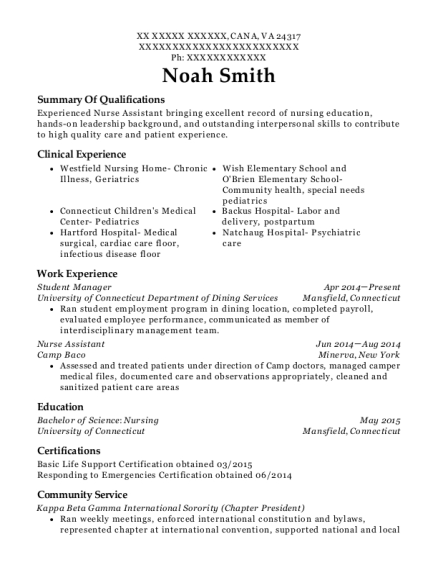 Student Manager resume sample Virginia
