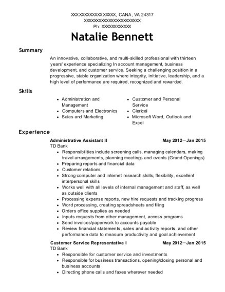 Administrative Assistant II resume example Virginia