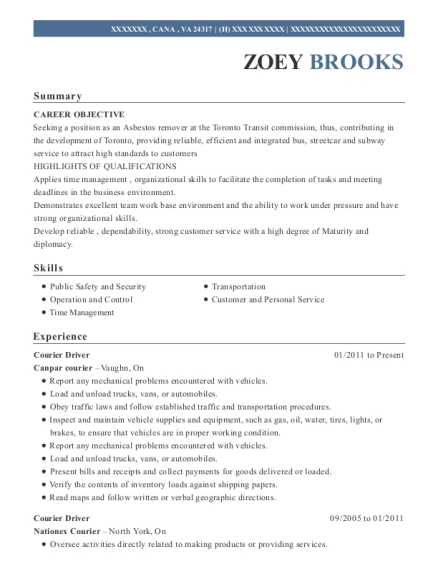 Courier Driver resume sample Virginia