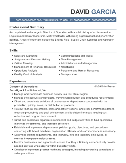 Director of Operations resume example Virginia