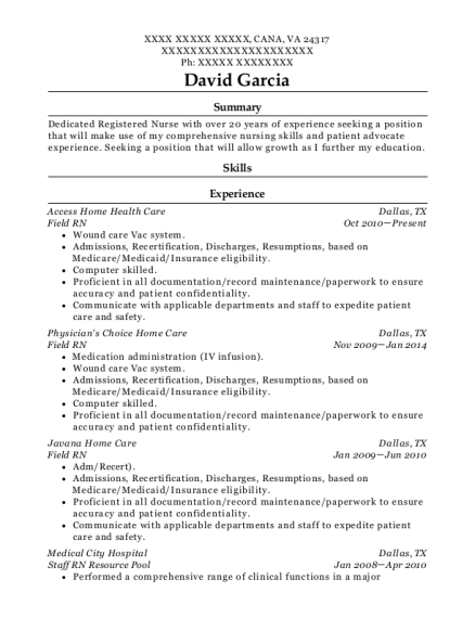 Field RN resume example Virginia