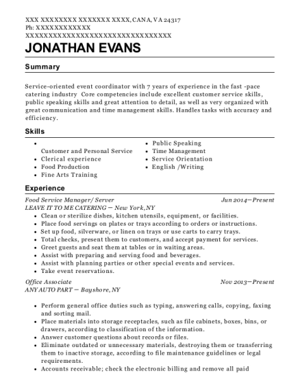 Food Service Manager resume sample Virginia
