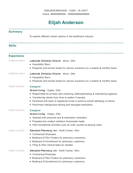 Caregiver resume template Virginia