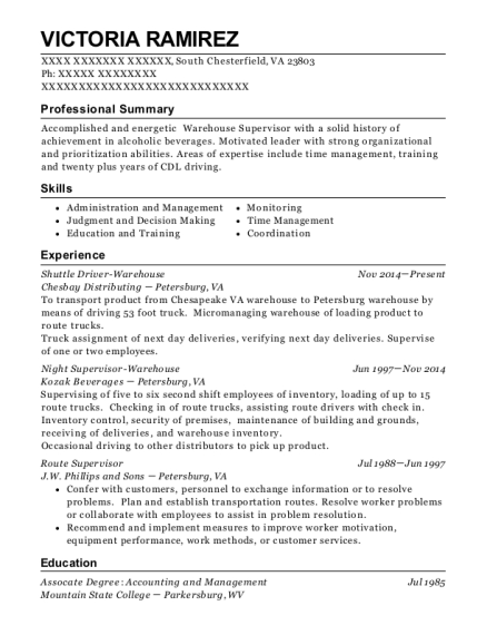 Shuttle Driver Warehouse resume template Virginia
