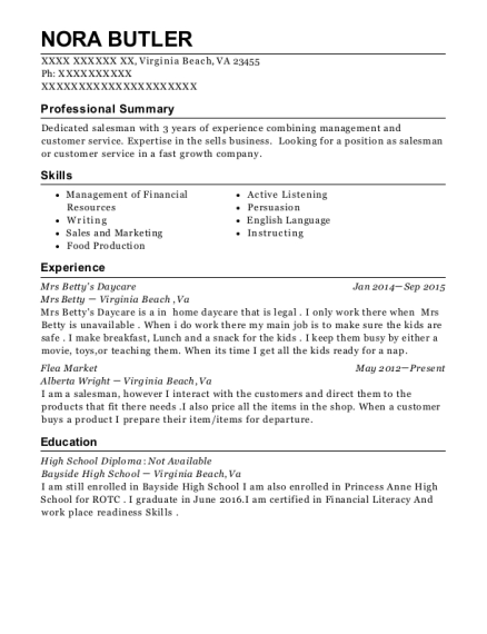 Mrs Bettys Daycare resume template Virginia