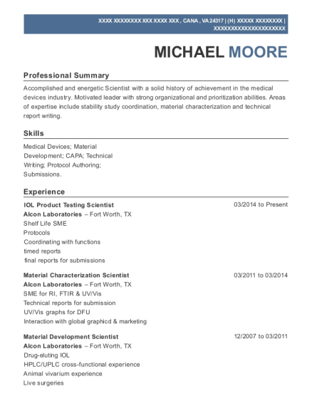 IOL Product Testing Scientist resume format Virginia