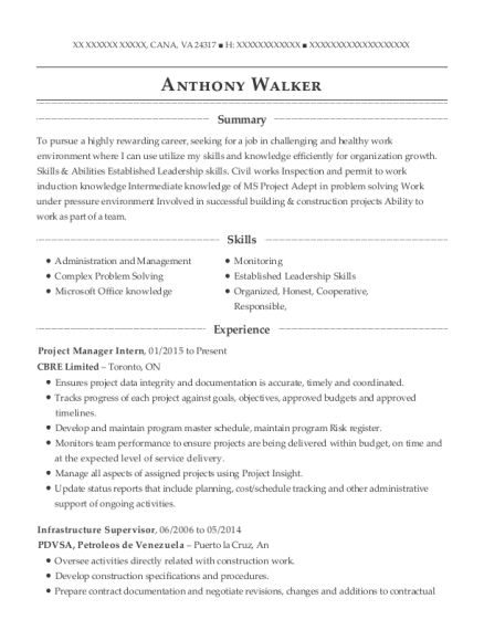 Project Manager Intern resume example Virginia