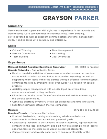 Midwest District Assistant Operations Supervisor resume example Virginia