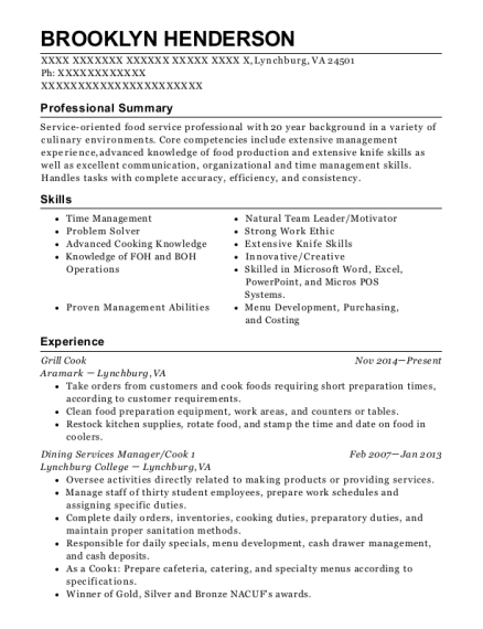 Grill Cook resume sample Virginia