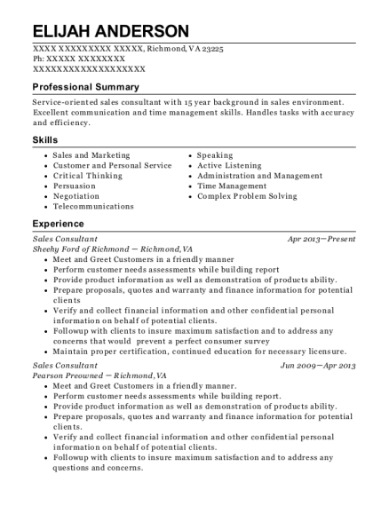 Sales Consultant resume template Virginia