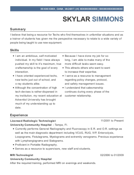 Uc Davis Medical Center Radiologic Technologist Resume Sample