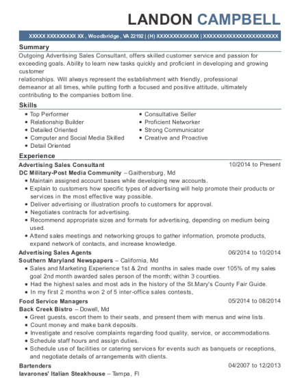 Advertising Sales Consultant resume example Virginia