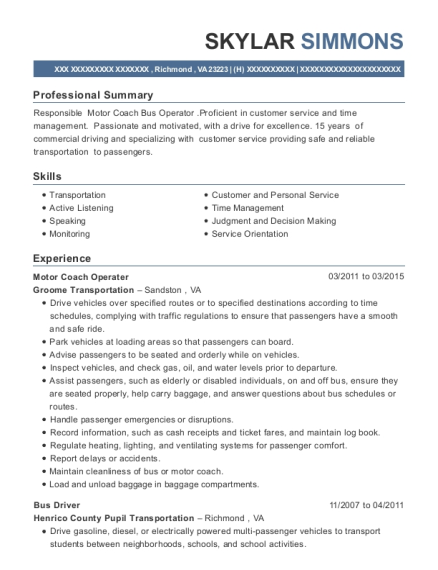 Motor Coach Operater resume sample Virginia